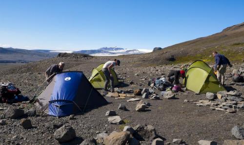Camping i den vilde, uberørte natur